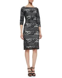 Tadashi Shoji 3/4-Sleeve Striped Lace Cocktail Dress - Lyst
