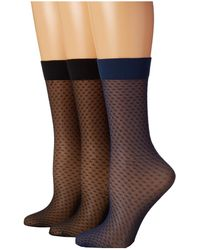 Cole Haan Sheer Mini Check Knee High 3-pack - Lyst