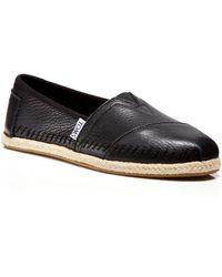 TOMS Leather Espadrille Flats - Seasonal Classics - Lyst