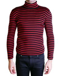 Saint Laurent | Red And Black Turtleneck Sweater | Lyst