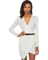 Akira Deep V Cross Over Dress with Belt in White - Lyst