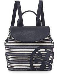 Tory Burch Striped Leather-Trim Denim Beach Backpack - Lyst