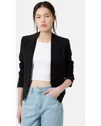 Topshop 'Poppy' Double Collar Blazer black - Lyst