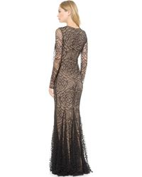 Vera Wang Collection - Lace Godet Mermaid Gown  Black - Lyst