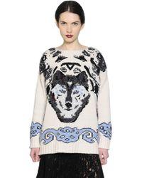 Antonio Marras Wolf Motif Oversized Wool Sweater - Lyst