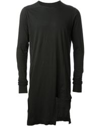 DRKSHDW by Rick Owens Long Draped Asymmetric Hem Sweatshirt - Lyst
