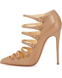 Christian Louboutin Viennana Strappy Leather Red Sole Bootie - Lyst