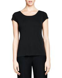 Eileen Fisher Silk-jersey Cap-sleeve Tee - Lyst