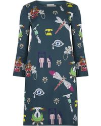 Mary Katrantzou Elio Printed Satin Dress - Lyst
