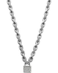 Michael Kors Silver Tone and Crystal Padlock Charm Necklace - Lyst