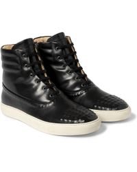 Alexander McQueen Leather Hightop Sneakers - Lyst