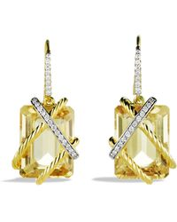 David Yurman Cable Wrap Drop Earrings With Champagne Citrine And Diamonds In Gold - Lyst