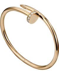 Cartier Juste Un Clou 18Ct Pink-Gold And Diamond Bracelet - Lyst