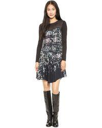 Tibi Long Sleeve Floral Dress  Black Multi - Lyst