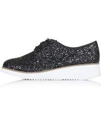 Topshop Fliss Glitter Flatform Shoes - Lyst