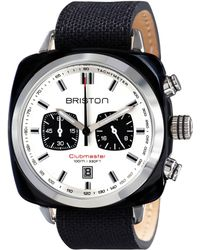 Briston - Black Acetate Clubmaster Sport Chrono Stainless Steel Canvas Leather Strap Watch - Lyst