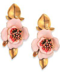 Oscar de la Renta Painted Flower Clip-On Drop Earrings - Lyst