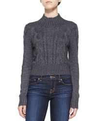 Cusp Mock-neck Cropped Combo-knit Sweater - Lyst