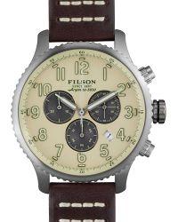 Filson - 43mm Mackinaw Field Chrono Watch With Leather Strap - Lyst