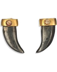 House Of Lavande Batari Pyrite & Crystal Horn Stud Earrings - Lyst