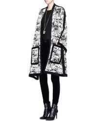 Alexander McQueen | Camouflage Intarsia Knit Cape Jacket | Lyst