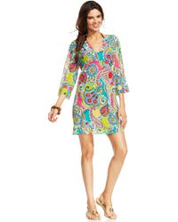 Anne Cole Sheer V-neck Tunic Cover Up - Lyst