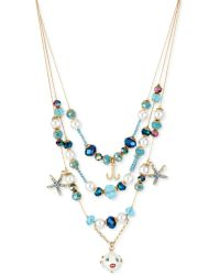 Betsey Johnson Goldtone Blowfish and Starfish Illusion Necklace - Lyst