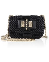 Christian Louboutin Sweet Charity Patent Leather, Suede & LamÉ Flap Bag - Lyst