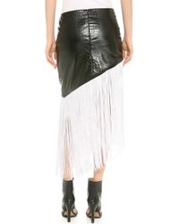Rodarte Embossed Faux Leather Fringe Skirt - Lyst