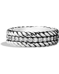 David Yurman Pavé Cable Band Ring with Diamonds - Lyst