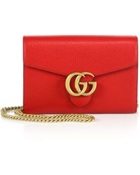 Gucci Gg Marmont Leather Chain-Strap Wallet red - Lyst