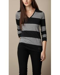 Burberry Block Stripe Vneck Top - Lyst