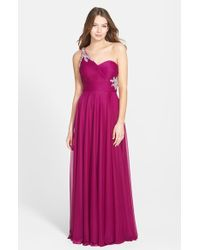 Xscape Embellished One Shoulder Mesh Gown - Lyst