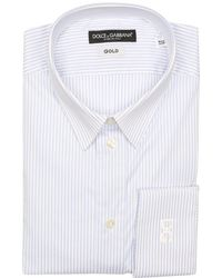 Dolce & Gabbana Light Blue Bar Striped Cotton Blend Gold Point Collar Dress Shirt - Lyst