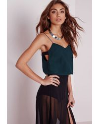 Missguided - Tab Side Crop Cami Top Teal - Lyst