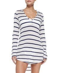 Splendid Striped Hooded Jersey Tunic - Lyst