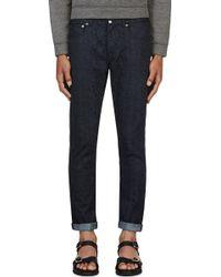 Christopher Kane Blue Snakeskin Jeans - Lyst