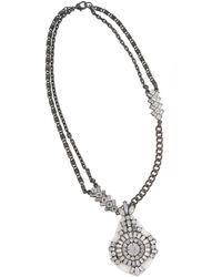 Erickson Beamon Rocks Heart Of Glass Silvertone And Glitz Round Pendant Necklace - Lyst