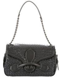 Bottega Veneta Black Intrecciato Leather Olimpia Saddle Bag - Lyst