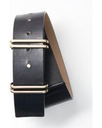 Ann Taylor Wide Double Keeper Leather Belt - Lyst