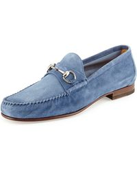 Gucci Unlined Suede Horsebit Loafer - Lyst