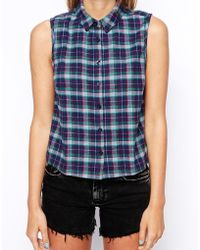 Asos Sleeveless Cropped Shirt in Check - Lyst