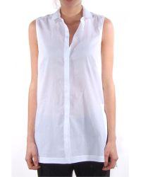 Helmut Lang Lawn Cotton Sleeveless Shirt - Lyst