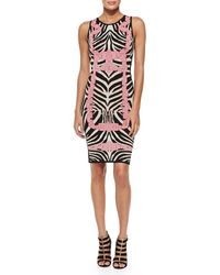 Hervé Léger Behati Zebrajacquard Knit Dress - Lyst