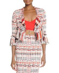 Donna Karan New York Tweed Jacket With Fringe red - Lyst