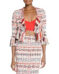 Donna Karan New York Tweed Jacket With Fringe - Lyst