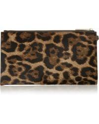 MICHAEL Michael Kors Bedford Leopard-Print Calf Hair Pouch - Lyst