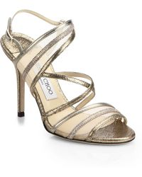 Jimmy Choo Visby Metallic Leather & Mesh Sandals - Lyst