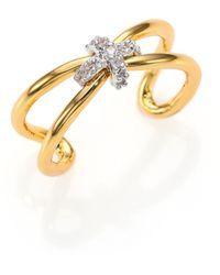 Giles & Brother | Pavé Crystal X Knot Ring | Lyst