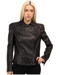 Pierre Balmain Leather Jacket with Shoulder Detail - Lyst